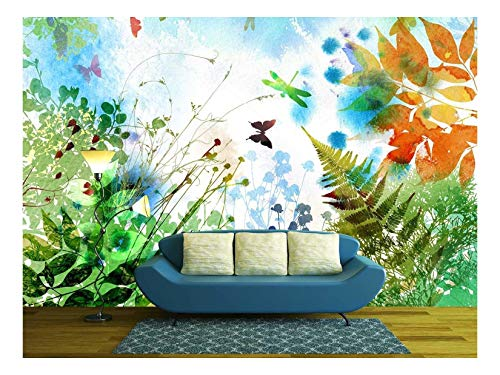 wall26 - Floral Spring and Summer Design, Watercolor Painting - Removable Wall Mural | Self-Adhesive Large Wallpaper - 100x144 inches
