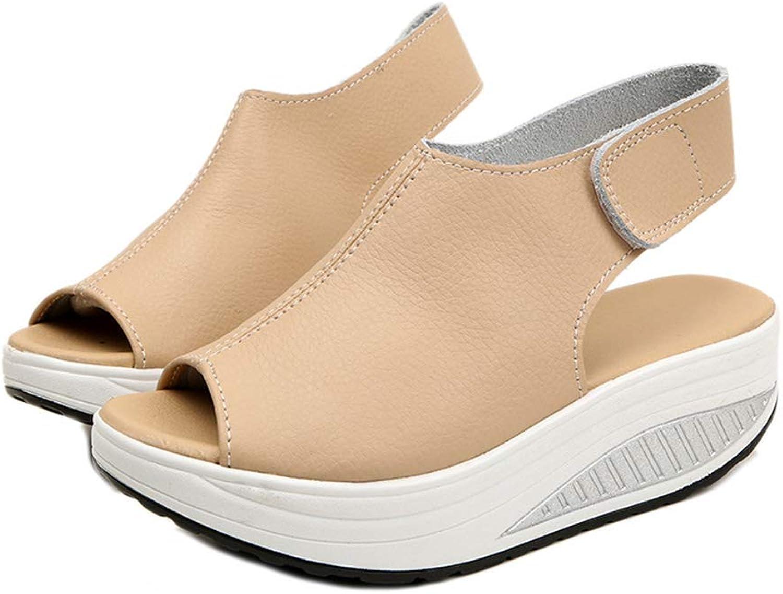 CLAKION Women Fish Mouth Hook Loop Rocker Sole Platform Casual Sandals