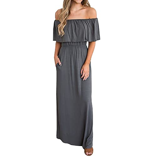 6f9ef99631a7 GAMISOTE Womens Off The Shoulder Plus Size Ruffle Casual Long Maxi Dresses  with Pockets