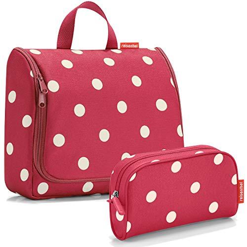 reisenthel Exklusiv-Set: toiletbag XL 28x25x10cm große Kulturtasche zum aufhängen aufklappbar + GRATIS makeupcase (Ruby dots)