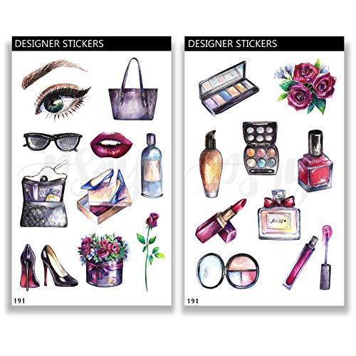 Deko Aufkleber - handgezeichnet - Thema Make Up Fashion - Bullet Journal Stickers - Stationary Set 191