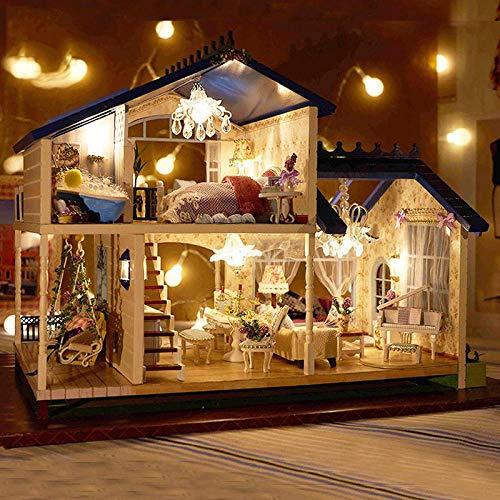 QIANBAOBAO DIY Haus DIY Cottage Handgemachtes Haus Montiert Modell Villa@Volles Haus EIN Paket