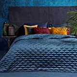 Eurofirany Luxuriöse Tagesdecke ROB Steppdecke Samt Bettüberwurf 220x240 Steppdecke Steppung Farben Blau Silber zur Wahl (BLAU)