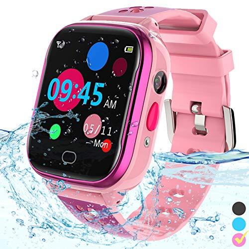 Kinder-Smartwatch Telefon – IP67 wasserdichte Smartwatch Jungen Mädchen mit Touchscreen 5 Spiele Kamera Alarm SOS Anruf – Telefonuhr Digital Armbanduhr für 3-13 Jahre Kinder Geburtstagsgeschenk (Pink)