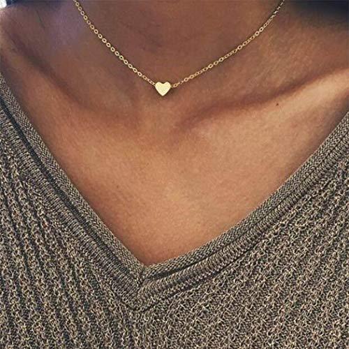 TseenYi Collar corto con colgante de amor simple y corazón de melocotón, clavícula, cadena de oro, regalos para mujeres y niñas (oro)