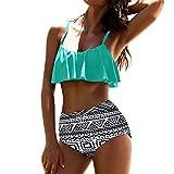 Yesmile Ropa de Baño Mujer Bikini Deportivo Mujeres Alta Cintura Bikinis Traje de Baño Swimsuit Mujer Retro Beachwear Bikini Set (S, Menta Verde)