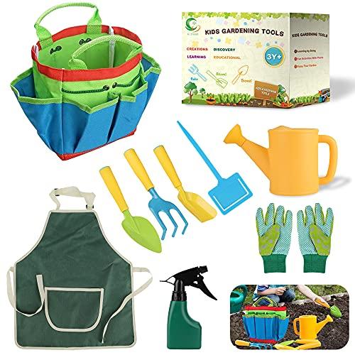 Daohexi 9 Gartengeräte für Kinder, Gartengeräte für Kinder im Freien, Werkzeugtasche, pädagogische Gartengeräte für Kinder mit Schürze, Gartenhandschuhe, Sprühflasche, Gartengeschenke für Kinder