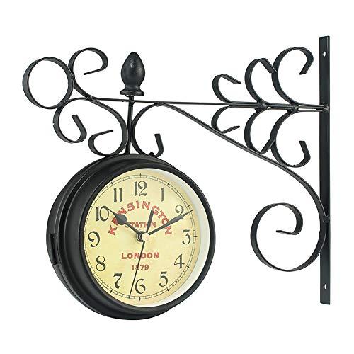 WERTAZ Reloj de pared de doble cara,reloj de pared vintage de hierro forjado,reloj de pared con aspecto antiguo,lámpara redonda con desplazamiento lateral para decoración de casa,No cero