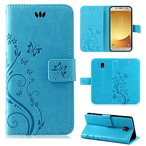 betterfon | Flower Hülle Handytasche Schutzhülle Blumen Klapptasche Handyhülle Handy Schale für Samsung Galaxy J5 2017 DUOS Blau