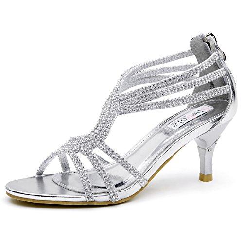 SheSole Damen Sandaletten - Klassische Damen-Schuhe mit Strasssteinen, modische Riemchensandalen als High-Heels mit Absatz, Silber, 39 EU
