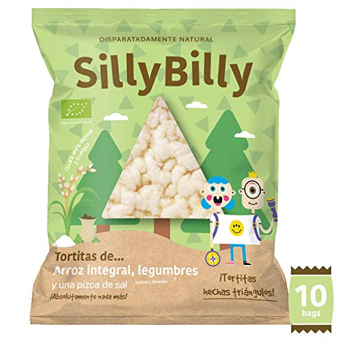 SillyBilly - Snack ecológico - Pack 10 bolsitas - Chips de Tortitas de arroz integral, lentejas y guisantes en forma de nachos- Almuerzos y meriendas - Para picar entre horas