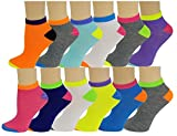 Differenttouch 12 Pairs Pack Women Low Cut Colorful Fancy Design Ankle Socks (9-11, Neon assorted 115) -  SUMONA