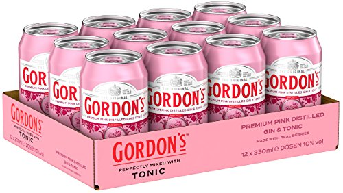 Gordon's Premium Pink Distilled Gin & Tonic Water Mix-Getränk, EINWEG (12 x 0.33 l)