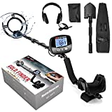 Professional Metal Detector for Adults, Adjustable 9 Identification Levels & 10 Levels of Sensitivity with PinPoint Function, Auto LCD Backlight 10' Waterproof Search Coil with Headphone, Shovel & Bag