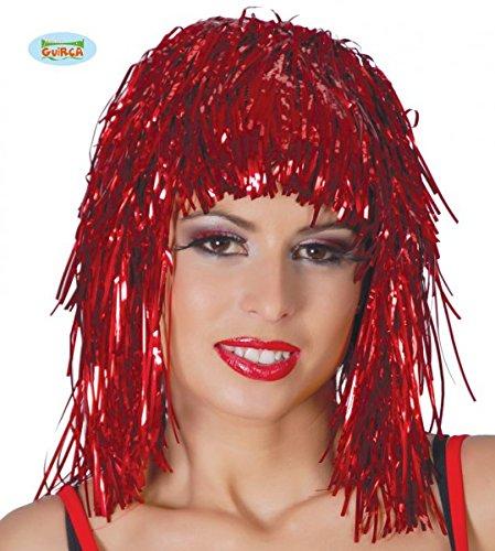 Guirca rote Lametta Perücke für Damen