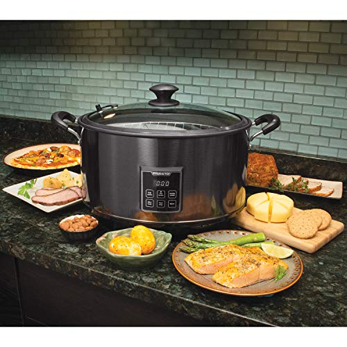 Presto 6013 Slow Cooker Indoor Electric Smoker, 6qt, Black Stainless Steel
