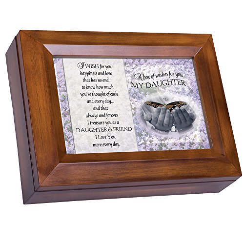 Cottage Garden Box of Wishes for You Daughter Woodgrain Digital...