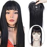 14'(35cm) SEGO Protesis Capilares con Flequillo Mujer Pelo Natural [#1 Negro Intenso] 100% Remy Extensiones de Clip Cabello Humano Hair Toppers (38g)
