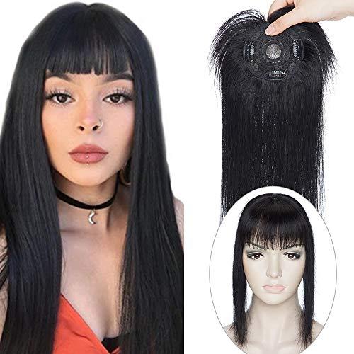 Haarteil Topper Remy Echthaar Clip in Extensions Toupet Haarverlängerung Pony Toupee Frauen mit 3 Clips Schwarz#1 14