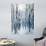 ABAKUHAUS Inverno Tappeto da Parete e Copriletto, Neve Foresta Coperto, più Tecnologia Moderna Digitale, 110 x 150 cm, Nero Bianco Blu Ardesia