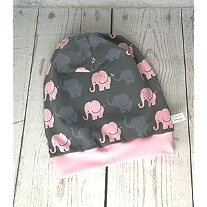 Baby Kinder Beanie Mütze Mädchen Elefanten Rosa KU 34-54 cm handmade Puschel-Design