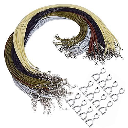 50 pcs Cuerda Collar Cordón y 50 Piezas Collares Enganches Cordón de Collar Encerado con Cierre para Colgante Ajustable para Hacer Joyas Collar de Cuentas Brazalete (2mm 5 Colores)