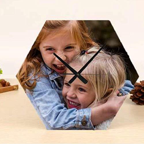 Mookase Reloj de Madera Forma Hexagonal Personalizado con Foto, Texto o Imagen. Medidas 20x20