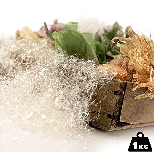 BAKAJI Paglia per Confezioni Regalo Truciolo Colore Trasparente da 1 kg per Addobbi Cesti Presepe e Decorazioni Festive