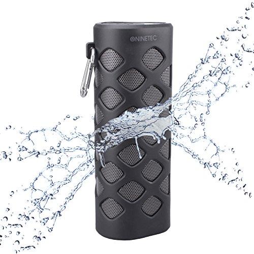 NINETEC Oxygen Wasserdichter Bluetooth NFC Speaker Lautsprecher Power Bank Schwarz
