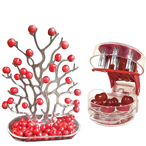 NewFerU Table Plastic Party Food Storage Holder Coral Desk Decoration Organizer Display Stand with Cherry Pitter Machine Pit Corer Remover Tool for 6 Cherries,Olives,Plums,Berries (Tree Fruit Seeder)