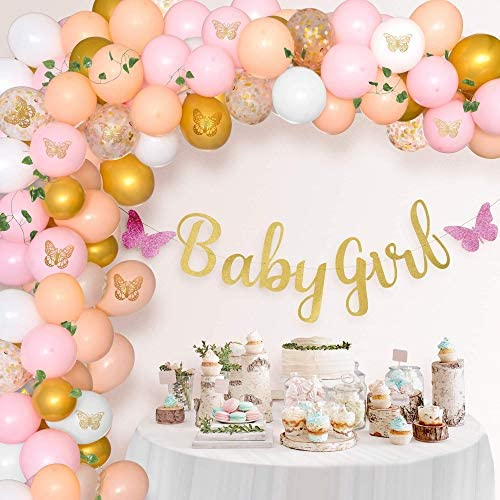Butterfly Garden Baby Shower Decorations For Girl 110 Piece Pink Balloon Garland Arch Kit Decor product image