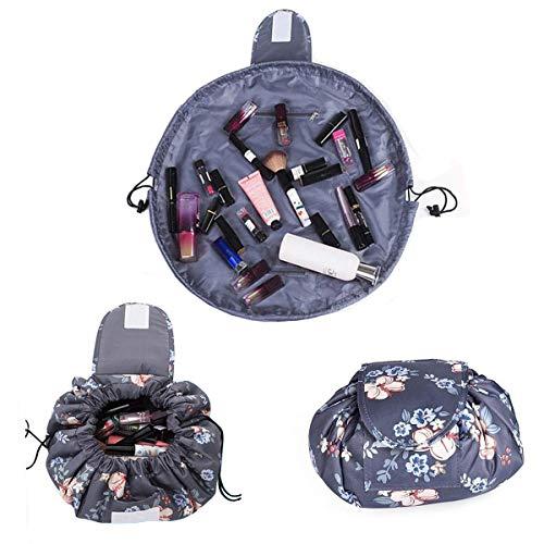 Kosmetiktasche mit Kordelzug,Lazy Damen Lager Kosmetische Magische Tasche Große Kapazität Tragbar Schnellpackung Wasserdichte Reisetasche (Dunkelgrau)