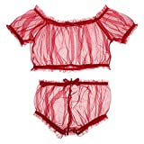 EXCEART 2 Piezas de Malla Roja Conjunto de Lencería de Mangas Cortas de Pura Malla Superior Calzoncillos de Sexo Coqueteo Pijamas Ropa de Dormir para Mujeres Señoras