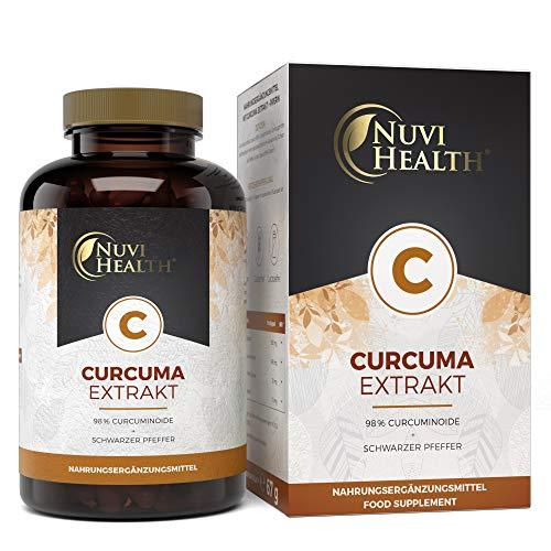 Curcuma Extrakt - 100 Kapseln mit 500 mg Extrakt - Premium: Extra hochdosiert mit 98% Kurkumin - Curcumin Gehalt einer Kapsel entsprich ca. 15.750 mg Kurkuma Pulver - Vegan - Laborgeprüft
