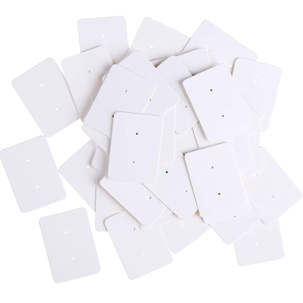 Hestya 500 Pieces Earring Display Card Kraft Paper Ear Stud Earring Storage Tag Accessories Holder (White)