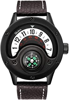 Men's Watches Oulm Big Dial Turntable Compass Watch Casual Leather Strap Quartz Sports Watch for Men Gift