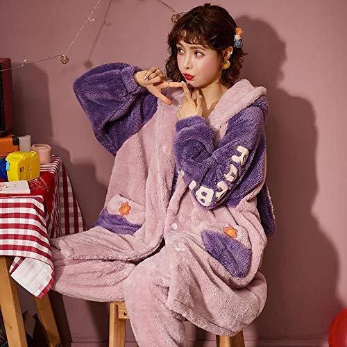 ASADVE Pijamas de Lana de Coral Engrosamiento de Invierno para Mujer más cárdigan con Capucha cálido de Lana otoño e Invierno Servicio a Domicilio-L_AA-88149 Hembra