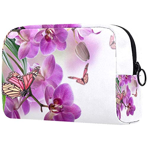 Travel Toiletry Bag Orchid butterfly purple Artist Storage Bag Zipper Pouch Travel Cosmetic Organizer for Women and Girls 7.3x3x5.1in