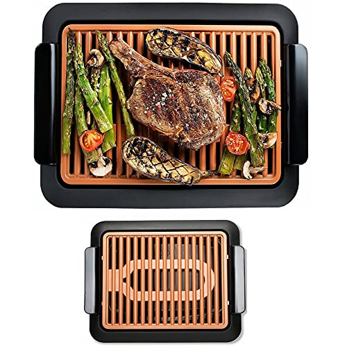 Steel Smokeless Electric Indoor Grill -Nonstick & Portable - Electric Pancake Grill - 2-in-1 Electric Griddle Grill with Cool-Touch Handle - As Seen on TV - Get that Summer BBQ Indoors All Year Long Without the Smoke!