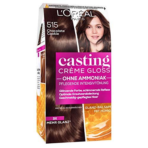 L'Oréal Paris Coloration ohne Ammoniak und ohne Silikone, Pflegende Intensivtönung mit Glanz-Reflex-Balsam, Casting Crème Gloss Haarfarbe, Nr. 515 Chocolate Cookie (Braun), 1 Stück