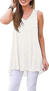 AUSELILY Women's Summer Casual Sleeveless V-Neck T-Shirt Tunic Blouse Tank Tops