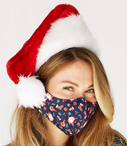 Christmas Face Mask Washable with Adjustable Earloops & Nose Wire - 3 Layers, 100% Cotton Inner Layer - Cloth Reusable Face Protection with Filter Pocket - Made in USA (Red Deer)