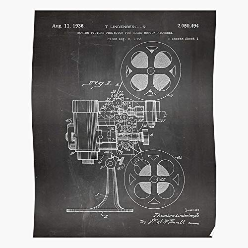 VQNTHINH Film Fan Cinema Motion Picture Home Student Theatre Patent Projector Best Gift for Home Decor Fine Wall Art Print Poster