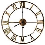 Jroyseter Reloj de pared silencioso de 40 cm Europea Dorado