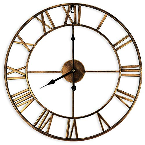 Jroyseter Europäische 40cm Silent Wanduhr Vintage römische Ziffern Nicht tickend Eisen Kunst Skelett runde Uhr gelten für Küche Wohnzimmer Kamin Schlafzimmer Dekor (Golden)