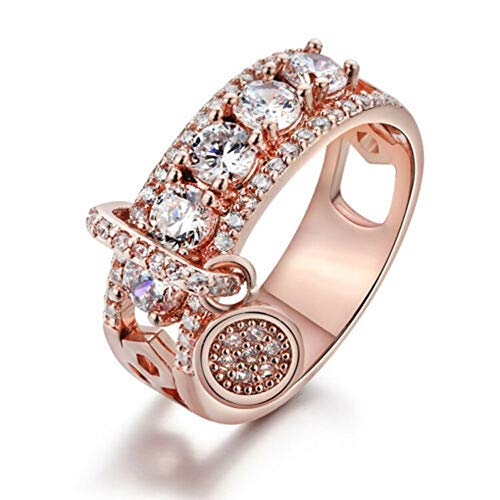 Kuyoly Anillo de diamante completo de la joyería de la boda de la joyería de la boda de la plata esterlina de la gota que destella del circonio que destella