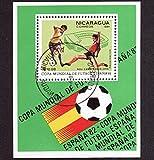 FGNDGEQN Sellos Nicaragua 1981 Copa Mundial de España sello de fútbol pequeño sello ha sido sellado