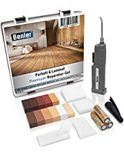 BENLER® NIEUW! - Houten reparatieset met 2in1 wasmelder voor laminaat, parket & vinyl - reparatieset, ook geschikt voor PVC en kunststof - 19-delige laminaat reparatieset (houtreparatieset) 20x19x4 cm hout