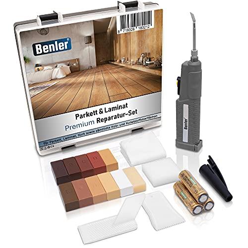 BENLER® NEU! - Holz Reparaturset mit 2in1 Wachsschmelzer für Laminat, Parkett & Vinyl - Reparatur Set, auch für PVC und Kunststoff geeignet - 19-teiliges Laminat Reparatur...