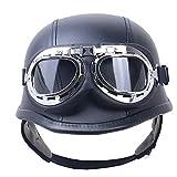 TKTKXQG Casco Moto, Caschi Cromwell per Moto,Casco in Pelle,